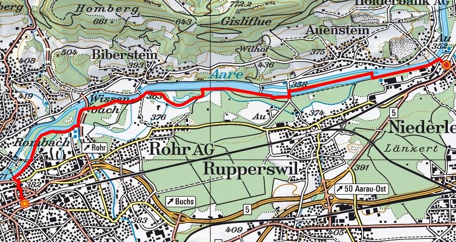 Aarau - Rupperswil - Wildegg (Aareuferweg)