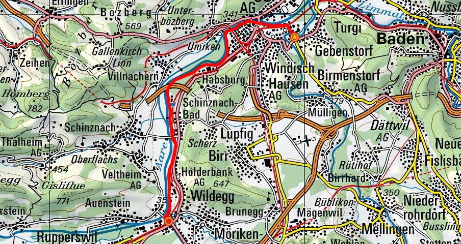 Gebenstorf - Brugg - Schinznach - Wildegg (Aareuferweg)