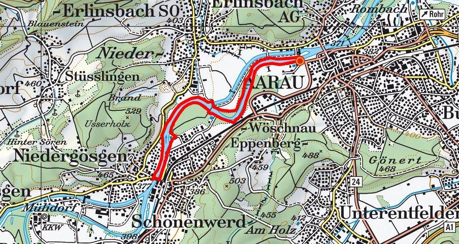 Aarau - Schönenwerd - Aarau (Aareuferweg)