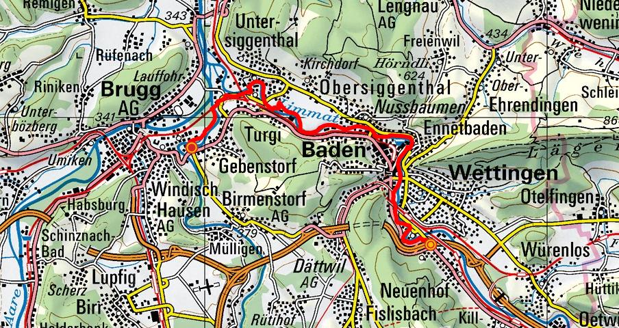 Wettingen - Baden - Turgi - Gebenstorf (Limmatuferweg)