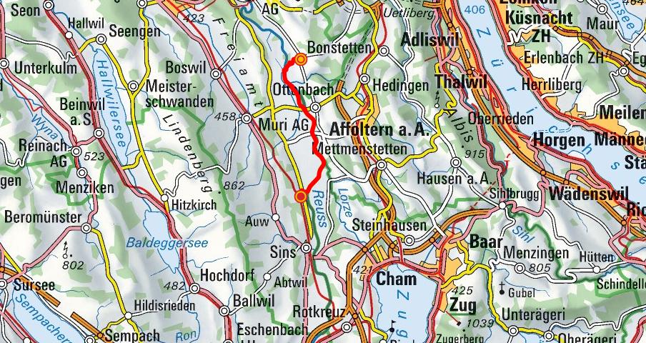 Oberlunkhofen - Rickenbach - Mühlau (Reussuferweg)