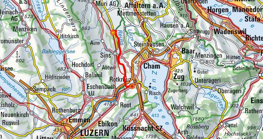 Mühlau - Sins - Rotkreuz (Reussuferweg)