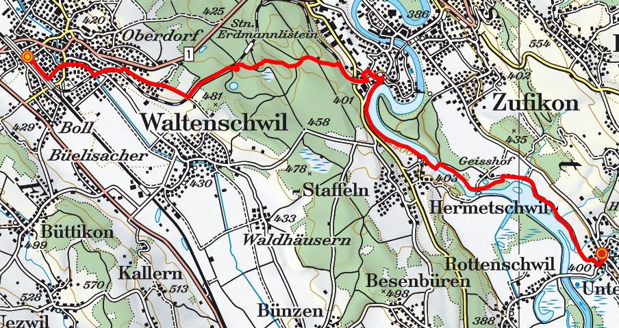 Wohlen - Erdmannlistein - Bremgarten - Unterlunkhofen