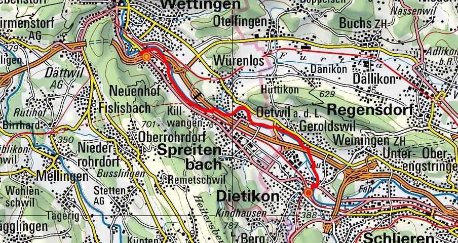 Wettingen - Würenlos - Dietikon (Limmatuferweg)