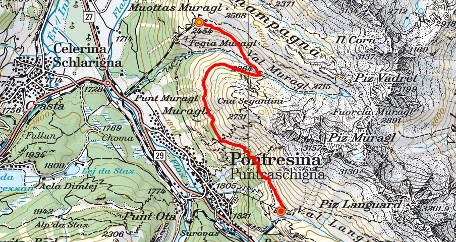 Muottas Muragl - Unterer Schafberg - Alp Languard