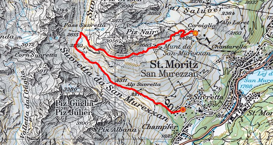 Corviglia - Pass Suvretta - Suvretta