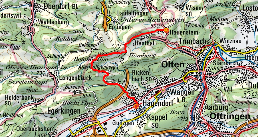 Hauenstein - Belchenflue - Hägendorf