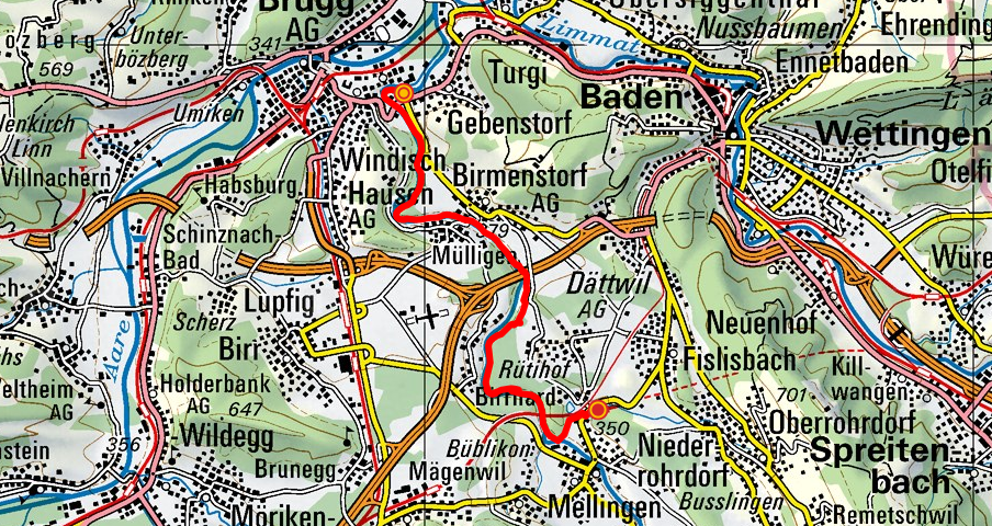 Gebenstorf - Birmenstorf - Mellingen (Reussuferweg)