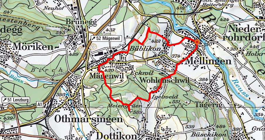 Mellingen - Meiengrüen - Mägenwil - Mellingen
