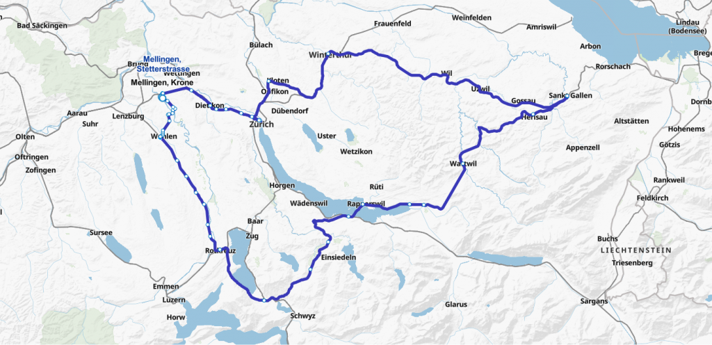 Strecke vom 21. Juni 2020