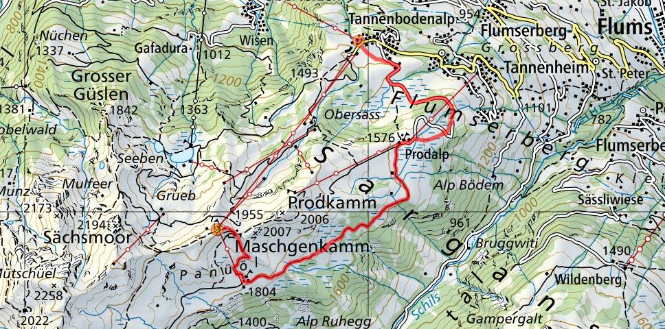 Maschgenkamm - Prodalp - Tannenbodenalp