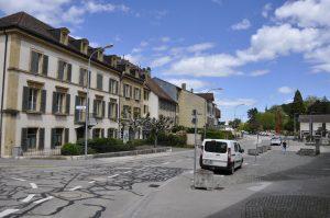 Bahnhofplatz in Boudry