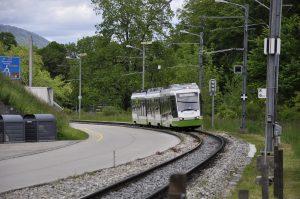Einfahrt des Zugs in Boudry