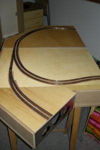 Die Gleise auf beiden Modulen sind nun fertig verlegt